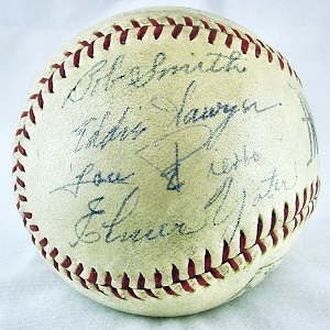 1939 Minor League Day Game Ball Autographed by Team Mates Bob Smith, Eddie Sawyer, Joe Pierro & Elmer Yoter
