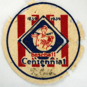 Centennial Patch Cooperstown Mens Team autographed by Ty Cobb