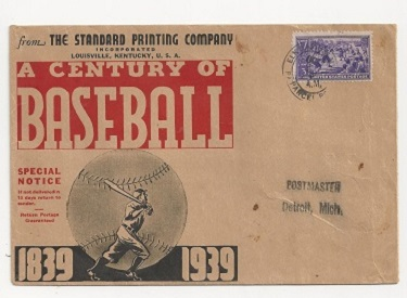 1939 A Century of Baseball Standard Printing Mailer