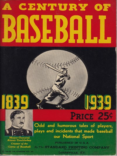 1939 A Century of Baseball Standard Printing book