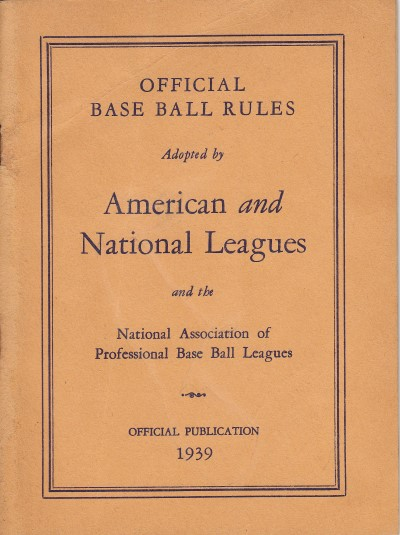 1939 American & National League Rules