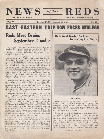1939 Reds News Letter