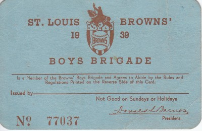 1939 Knot Hole Club St. Louis Browns
