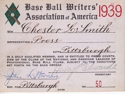 1939 Base Ball Writers Association of America