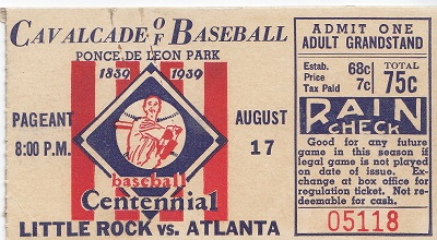 1939 Centennial Game Atlanta Crackers