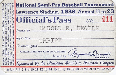 1939 Pass US Semi-pro Tournament Umpire