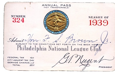 1939 Philadelphia Phillies Pass Reference