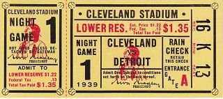 Cleveland Indians First Night Game June 27,1939