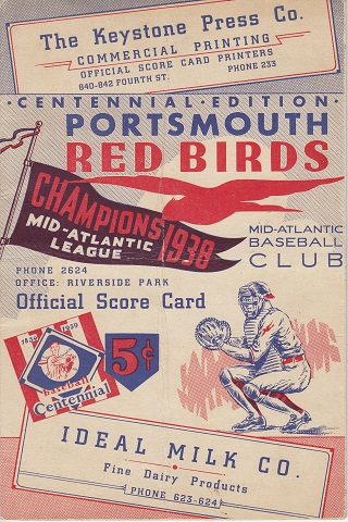 Portsmouth Red Birds vs Canton Terriers Centennial Score Card