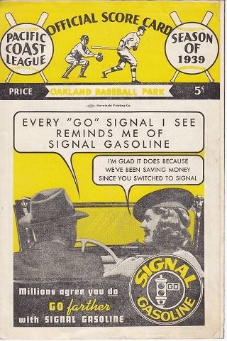 Oakland Oaks vs Seattle Rainiers Centennial Score Card