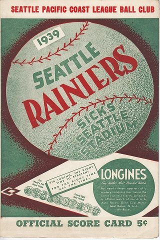 Seattle Rainiers vs Oakland Oaks Centennial Score Card
