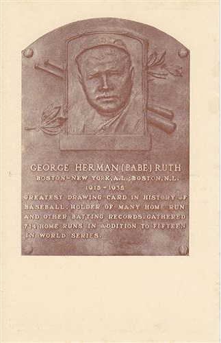 1936 George Babe Ruth Hall of Fame Plaque