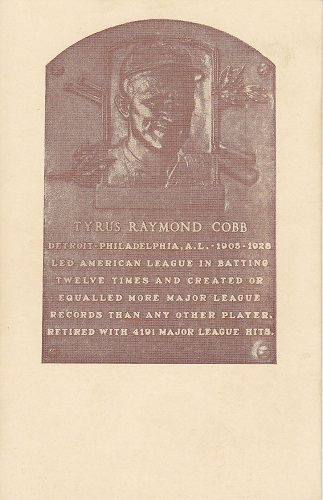 1936 Tyrus Cobb Hall of Fame Plaque