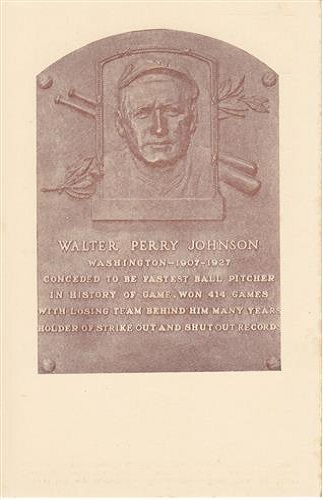 1936 Walter Johnson Hall of Fame Plaque