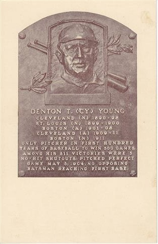 1937 Denton CY Young Hall of Fame Plaque
