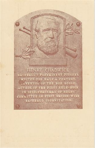 1938 Henry Chadwick Hall of Fame Plaque