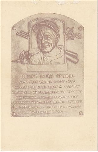 1939 Henry Louis Gehrig Hall of Fame Plaque