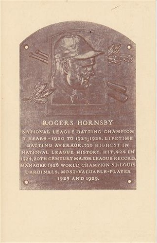 1942 Rogers Hornsby Hall of Fame Plaque