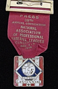1939 Minor Major League Winter Meeting Press Badge mfg by Bactian Bros.