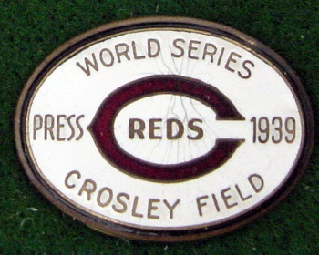 1939 World Series Cincinnati Press Pin MFG Dieges  & Clust