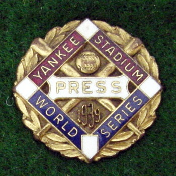 1939 World Series New York Press Pin MFG Dieges  & Clust
