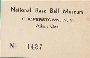 1938 National Base Ball<br/>Museum Ticket