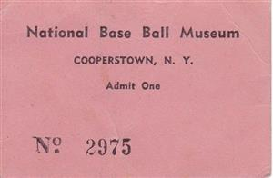 1939 National Base Ball<br/>Museum Ticket