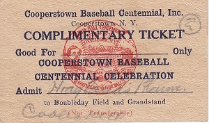 Complimentary Ticket for Doubleday Field