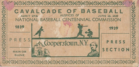 1939 Cavalcade of Baseball Autographed Press Ticket