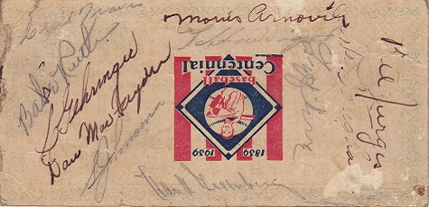 Cavalcade of Baseball Autographed Press Section Ticket autographed by Cecil Travis, Babe Ruth, Charley Gehringer, Danny MacFayden, Sy Johnson,Hank Greenberg, Lefty Grove, Arky Vaughn,Billy  Jurges,Morris Arnovich and Taft Wright