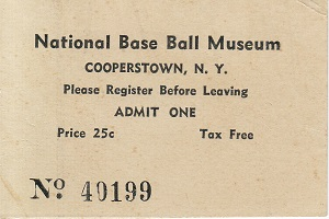 National Base Ball Museum Ticket Fall of 1939