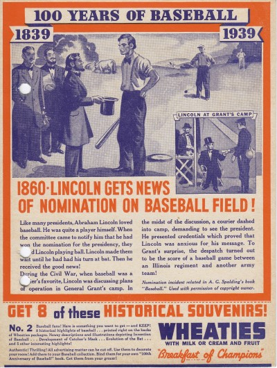 Wheaties Back Panels No. 2 - 1860 Lincoln Gets News