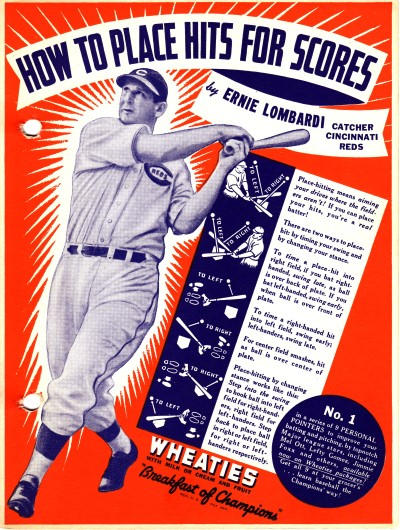 Wheaties Big &#34;Nine&#34; Back Panel No. 1<br/>How to place hits for scores by Ernie Lombardi